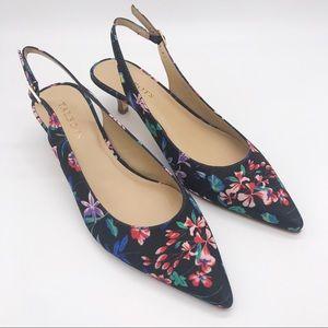 🆕 TALBOTS Floral Pointed Slingback Kitten Heels 8